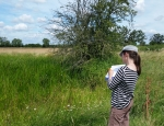 A volunteer recording Tubular Water-dropwort flowers at Gallows Bridge Farm copyright Pete Case