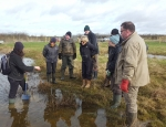 Showing volunteers how to carry out practical management of the ponds at Gallows Bridge copyright Pete Case