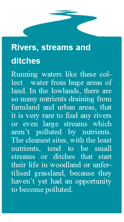 River, streams and ditches with text
