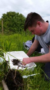Aidan McCarthy PPW volunteer helping with invert servey at Orton Pits 30may2016